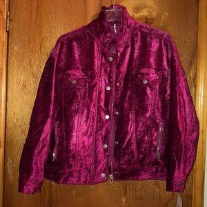 free people pink velour oversized jacket